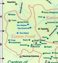 Colored map of Kanton Frank showing the location of the village of Frank